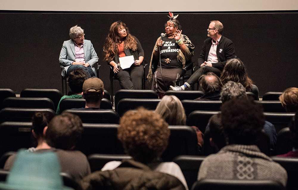 Producer L.A. Teodosia, professor Maria Agui Carter, subject Victoria Cruz, and director David France participated in a Q&A following a screening of The Life and Death of Marsha P. Johnson. DANIEL PEDEN / BEACON CORRESPONDENT