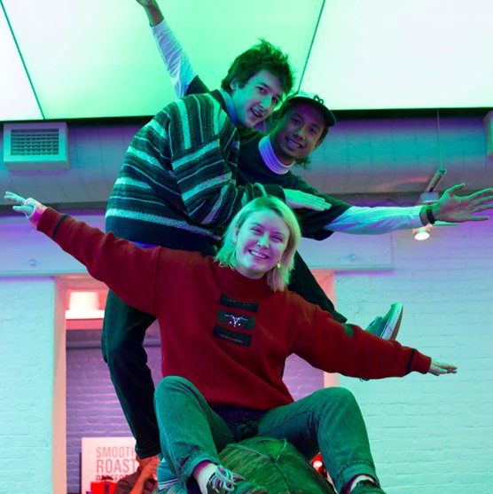 Ultra Chapelle band members Claire Foley, Nick Arcari, and Lorenzo Rosi will open for singer-songwriter Frankie Cosmos this Friday. BETHANY HAMLIN / BEACON STAFF