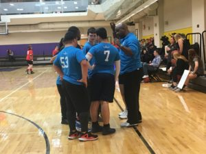 A team huddle during Sunday's Special Olympics event at Emerson. Photo: Michael Cerullo/Beacon Correspondent