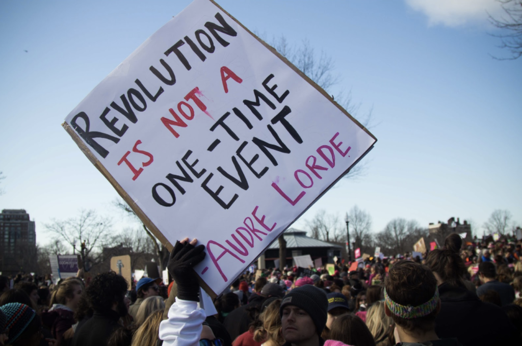 The Women's March reforms after one year, sparked by the #MeToo campaign. Photo: Berkeley Beacon Archives.