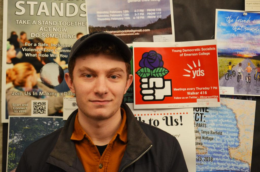 Aaron foster started Young Democratic Socialists of Emerson with his roommate. Photo: Hardik Pahwa / Beacon Correspondent