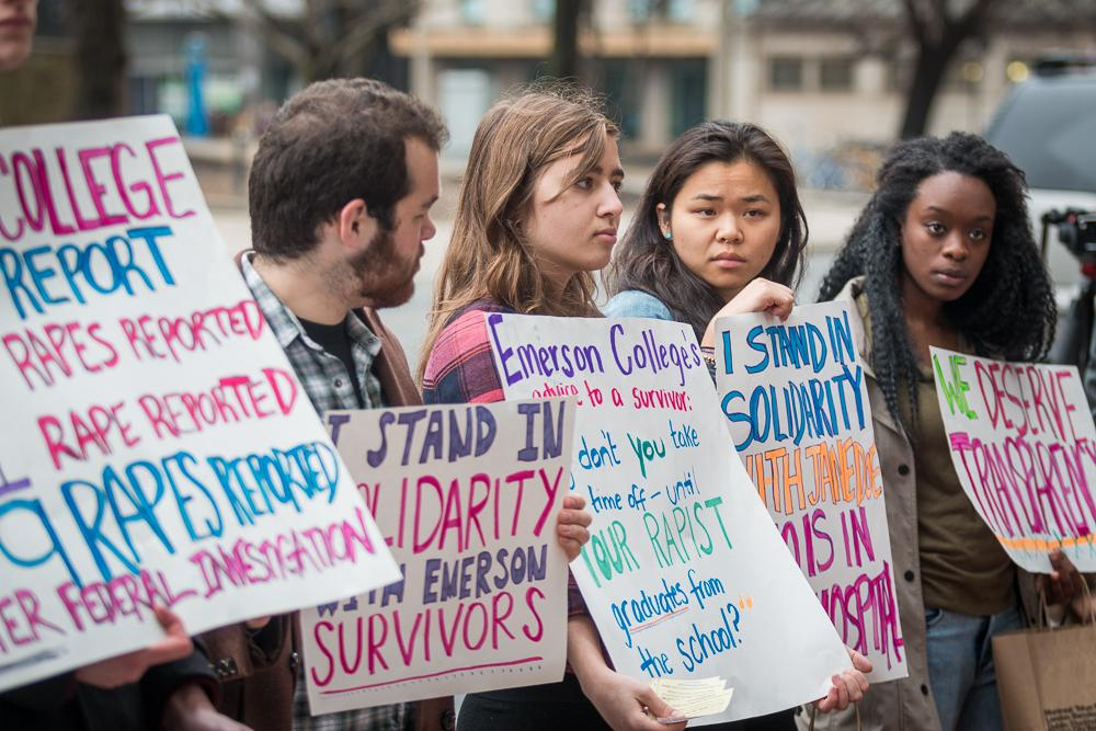 Current and former Emerson students advocated for education, transparency, and accountability regarding sexual assault on campus RYAN CATALANI / BEACON STAFF