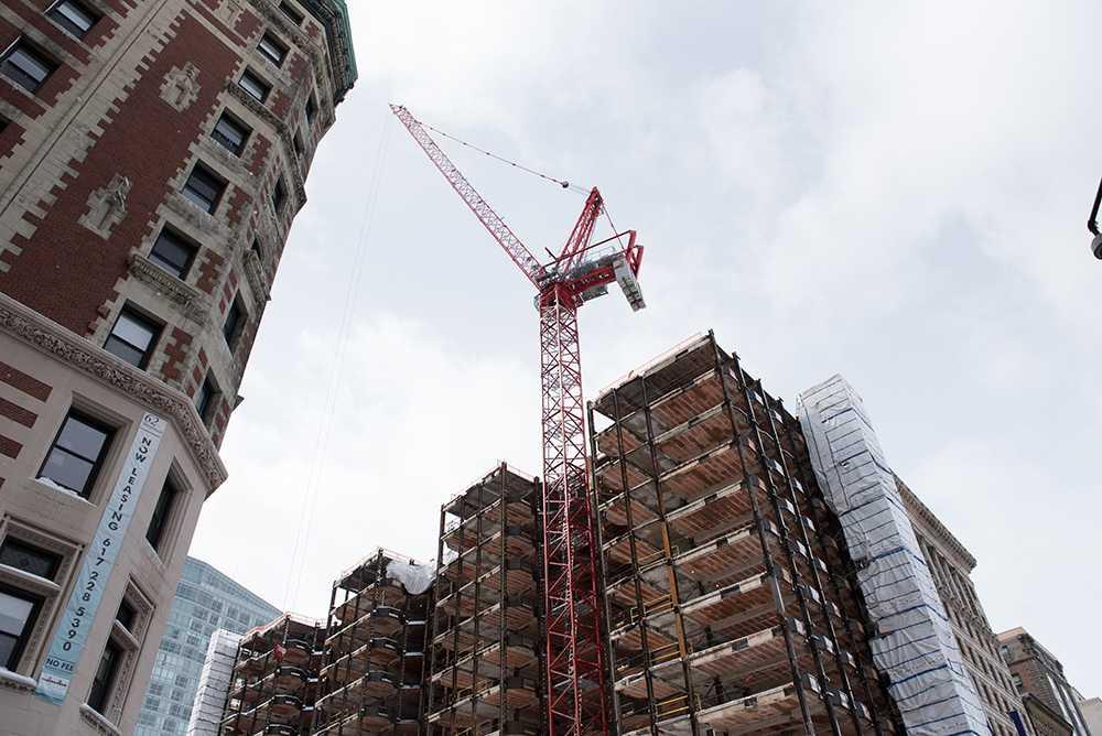 The+crane+will+remain+on+the+Little+Building+till+November+or+December.+Photo%3A+Daniel+Peden+%2F+Beacon+Staff