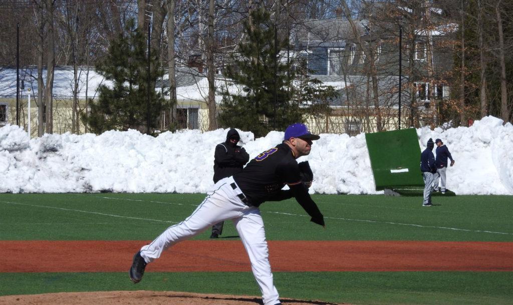 Emerson baseball faces off against Rivier University at St. John's Prep. Photo Courtesy of Julie Levine.