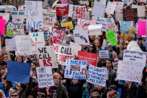Students marched through downtown Boston to protest gun laws and advocate for change. Photo: Daniel Peden/The Berkeley Beacon