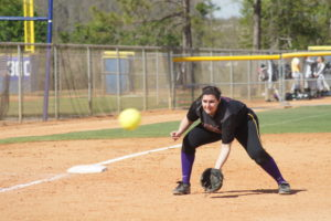 Senior Molly Goldstein fields a ground ball. Courtesy of Jillian Gearin.