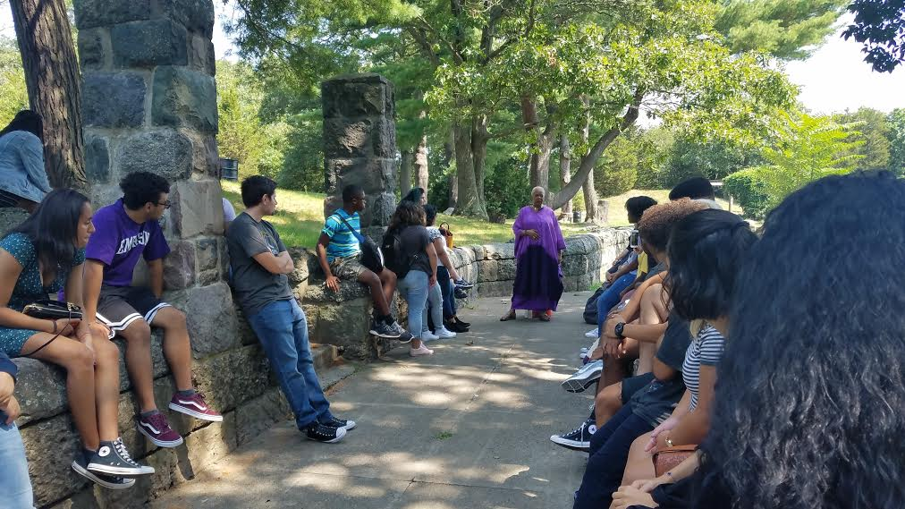 Students at the pre-orientation went to Franklin Park in Jamaica Plain on an intercultural tour of Boston. Photo courtesy of Christopher Henderson-West.
