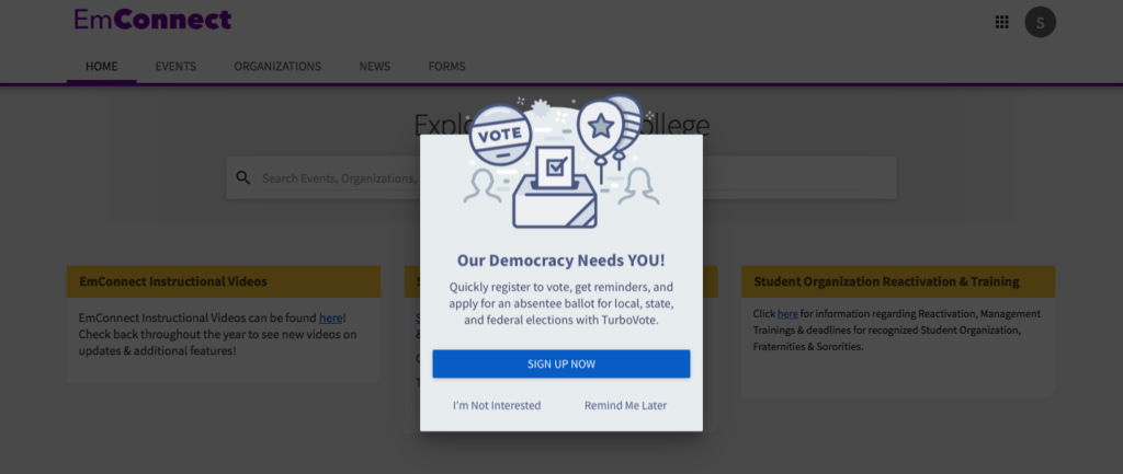 A pop-up appears the first time a students faculty, or staff logs-in to emConnect asking them to register to vote, get reminders, and apply for absentee ballots. Screenshot from emConnect.