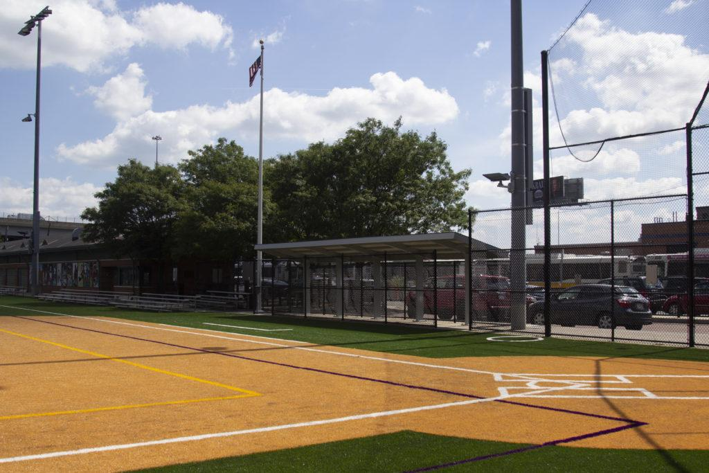 The softball diamond on Rotch Field now has dugouts for both teams. Photo: Kyle Bray/Beacon Staff.