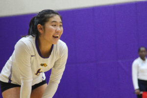Lauren Quan places second amongst all freshman in the NEWMAC in digs with 190. Photo by Anissa Gardizy / Beacon Staff