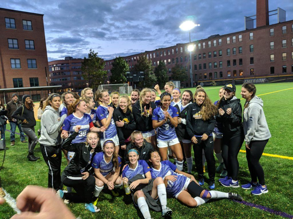 Women%27s+soccer+celebrates+after+clinching+a+spot+in+the+NEWMAC+playoffs+on+senior+day.+Photo+by+Aaron+Miller+%2F+Beacon+Staff