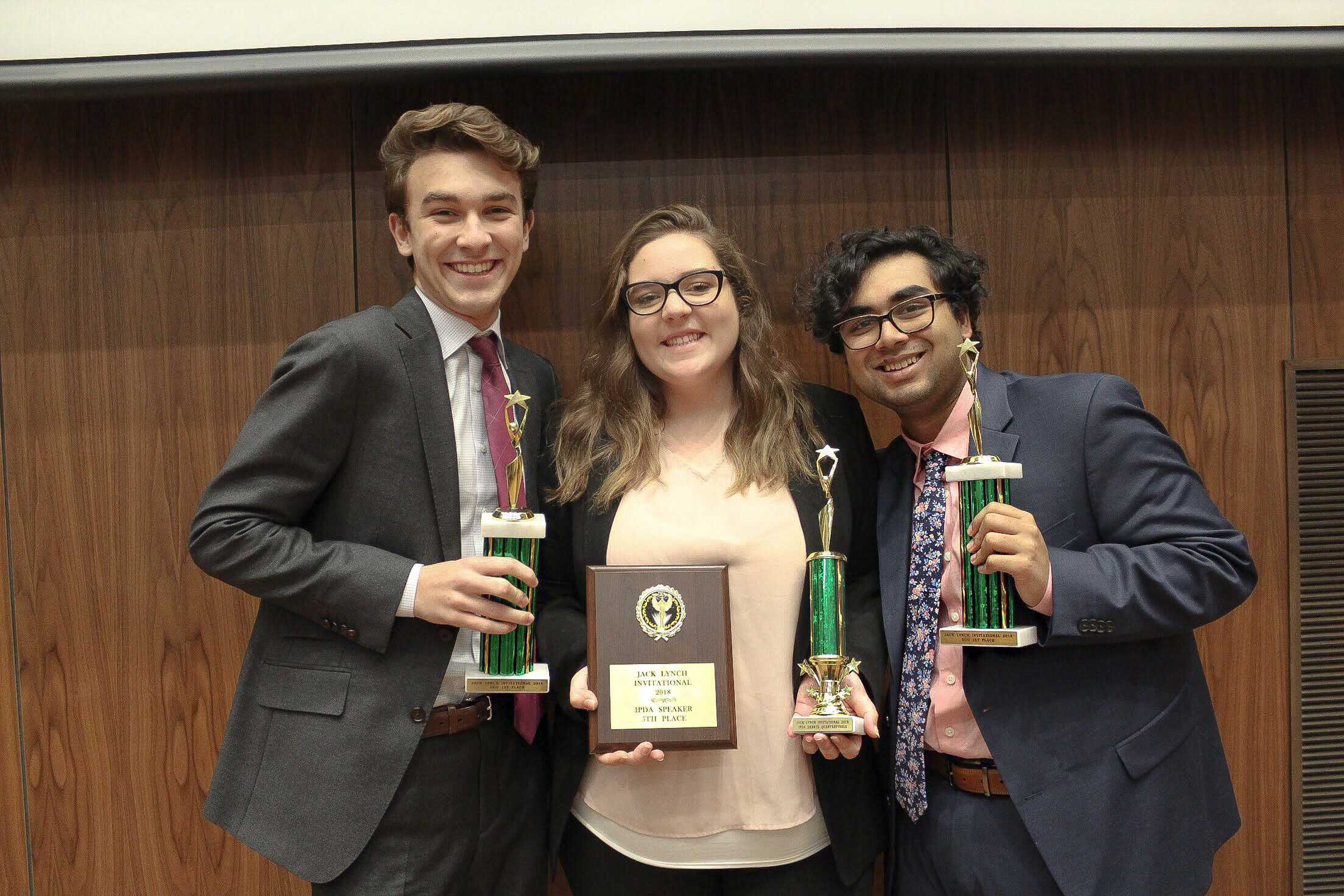 Freshman William Rowley, Sara Hathaway, and Karthik Ramaswami all placed in the debate competition. • Courtesy of Sara Hathaway.