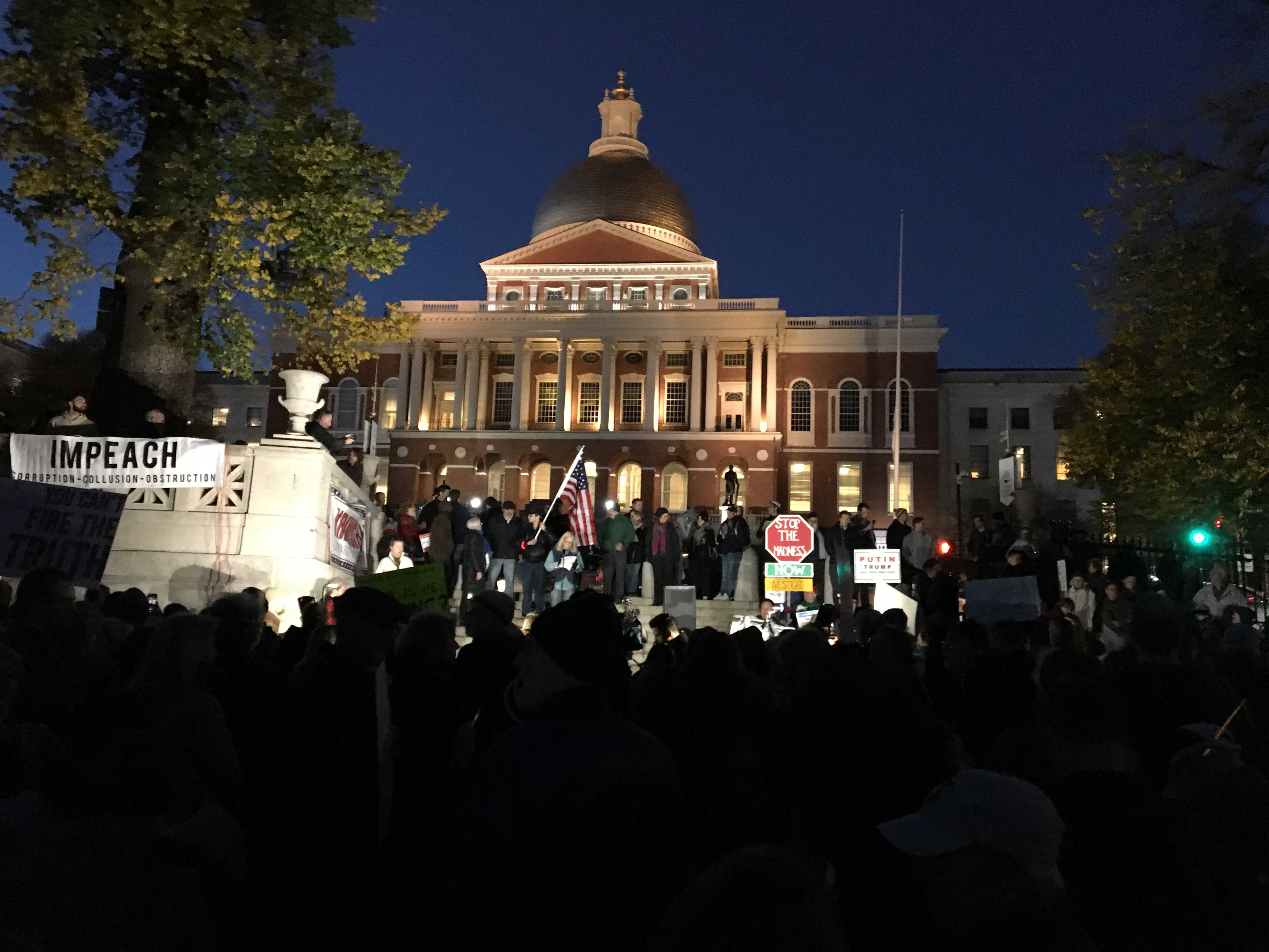 """The Boston Common echoed with the chant, """"2-4-6-8. Mueller must investigate."""