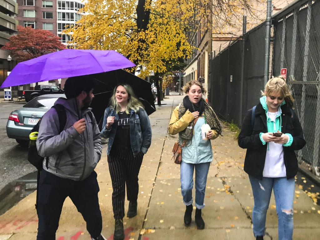 Four Emerson students made their way through the cold and rain to vote in the 2018 midterm elections. Stefania Lugli / Beacon Staff