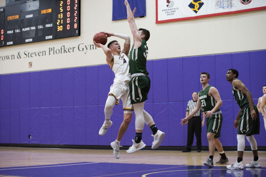Junior+%28No.+4%29+Jack+O%27Conner+added+14+points+and+10+rebounds+to+the+Lions%27+victory+over+Babson.+Photo+by+Daniel+Peden+%2F+Beacon+Staff