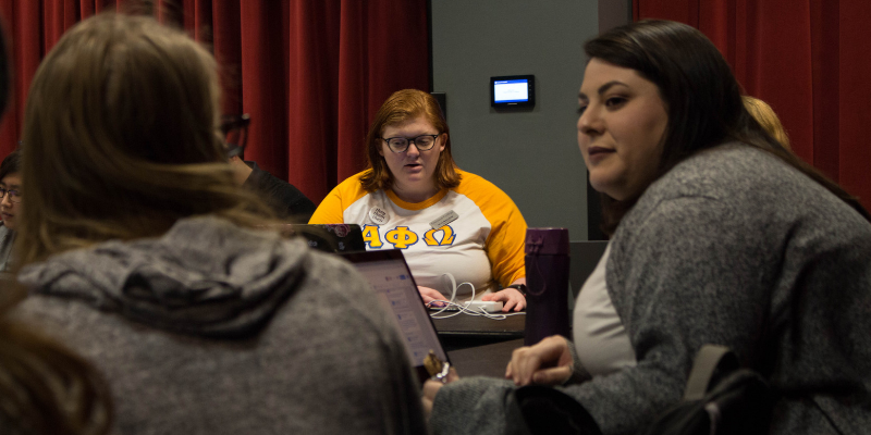 Class of 2019 President Ally MacLean (center) was the only dissenting vote on a proposal to change the student organization recognition process. Maia Sperber / Beacon Staff