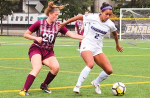 Sophomore Amanda Benavente (right) scored three goals last season as a defender. Photo by Anissa Gardizy / Beacon Staff