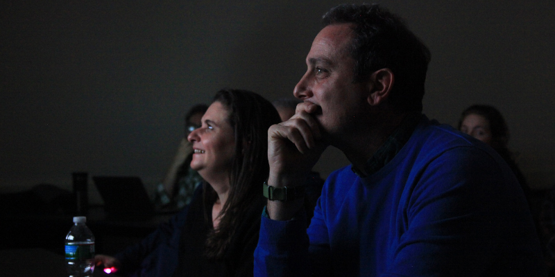Judges Lauren Steel (left) and David Goldman (right) came to the college for the Boston Press Photographers Association annual photo competition. Photo by Hongyu Liu / Beacon Correspondent