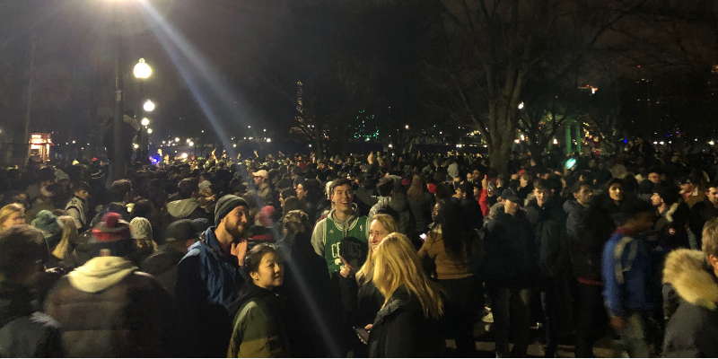 Students and Boston residents flood the Common after the Patriots' 6th Superbowl victory. Photo by Chris Van Buskirk / News Editor