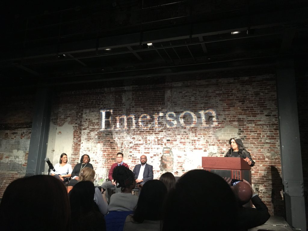 Panelist+speak+at+Emerson%27s+%22Perspectives+on+Race+and+the+Boston+Media%22+on+March+26.+Hannah+Ebanks+%2F+Beacon+Correspondent+