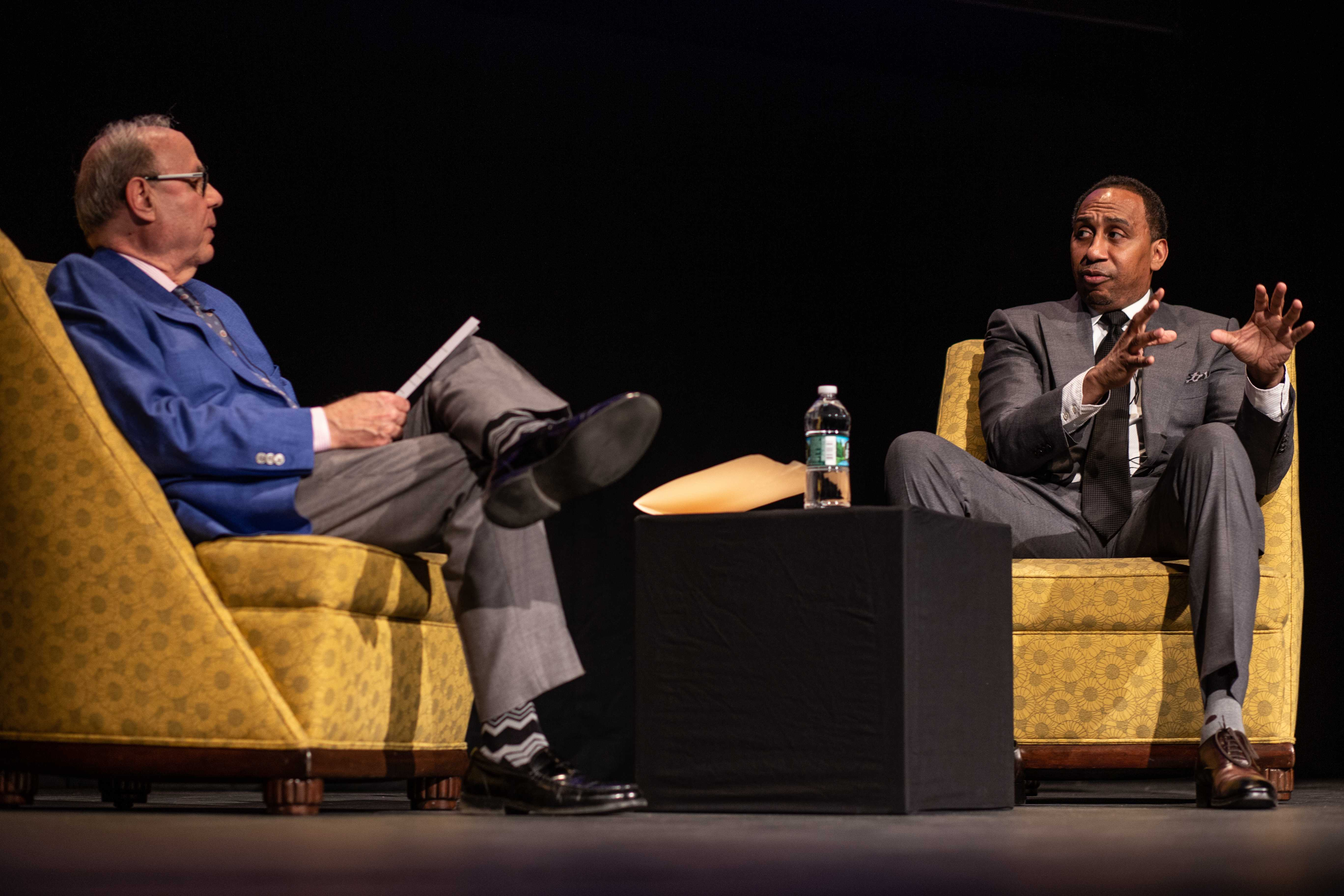 Al Jaffe (left) and Stephen A. Smith (right) spoke about sports journalism and gave advice to interested students. Photo by Alexa Schapiro / Beacon Staff