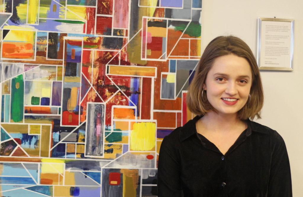 Senior Shelby Grebbin hung her artwork in the Iwasaki Library over spring break. Madison Goldberg / Beacon Correspondent