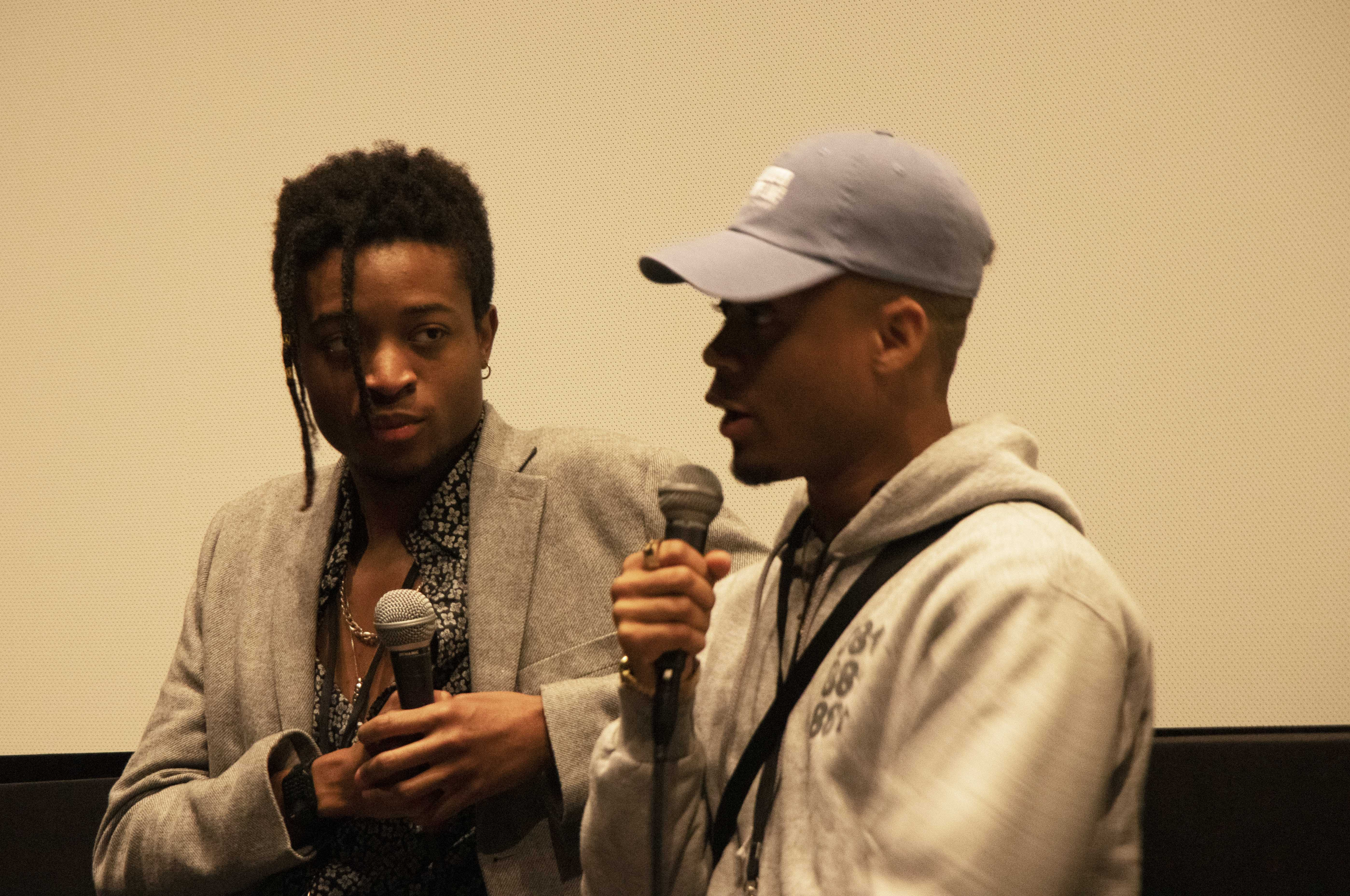 Evan McDonald (left) and Jeru Berry (right) created 'No Whites Allowed' and the documentary won the Audience Award at Emerson's Film Festival. - Photo by Thomas Bloxham / Beacon Correspondent