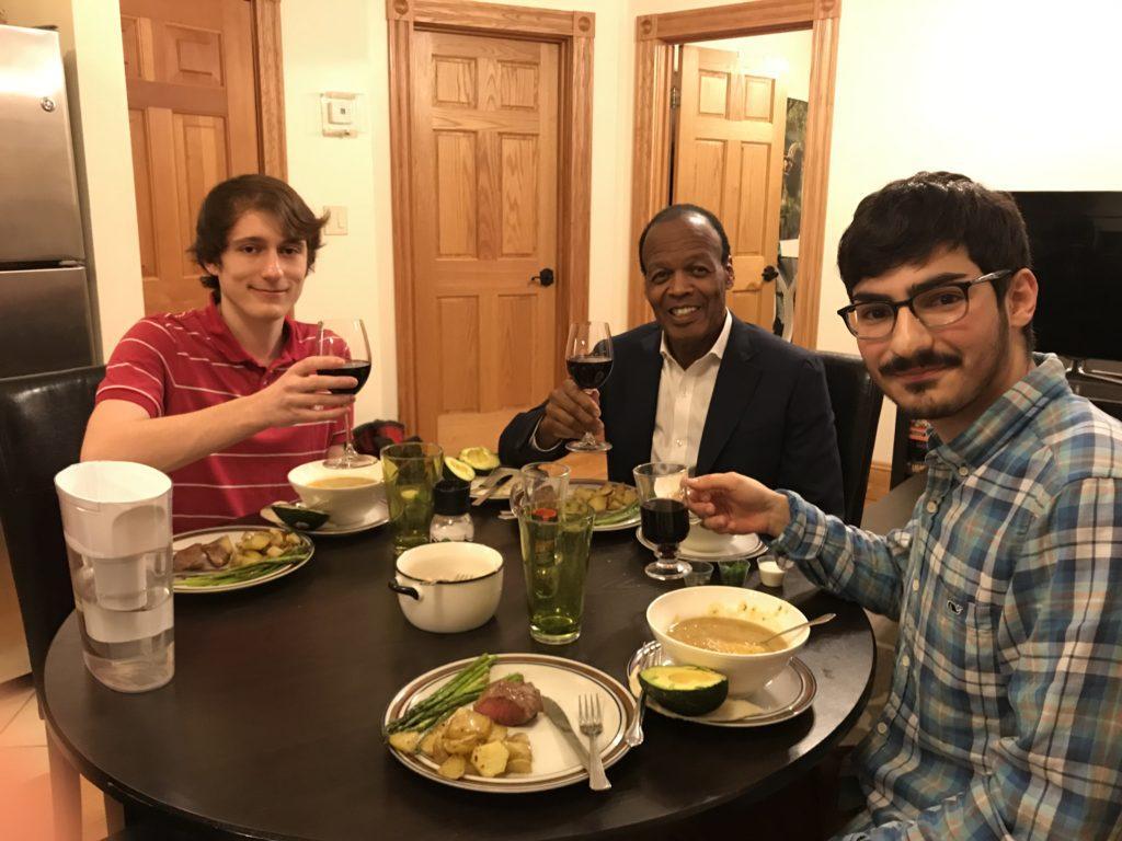 Juniors+Patrick+Westervelt+%28left%29+and+Simon+Olarte+%28right%29+cooked+dinner+for+President+M.+Lee+Pelton.+Photo+courtesy+of+Kris+Theorin