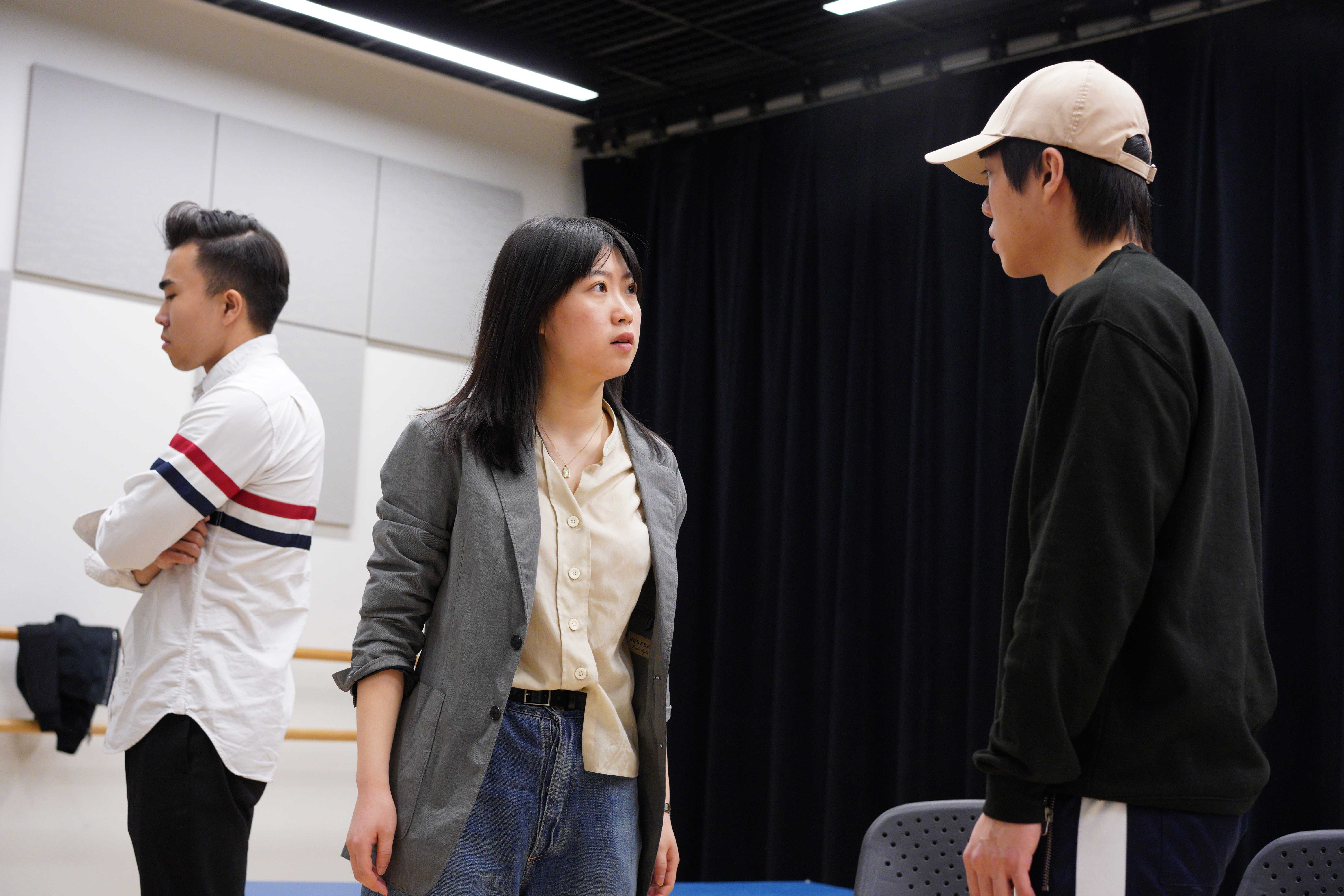Junior Alison Qu (center) said many other Boston colleges, such as Boston University, have their own Chinese student theater groups and Qu decided Emerson needed their own. - Photo by Xinyi Tu - Beacon Staff
