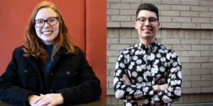 Sophomores Annie Noel and Will Palauskas are both running on similar platforms. Photo by Tivara Tandujaja / Beacon Correspondent