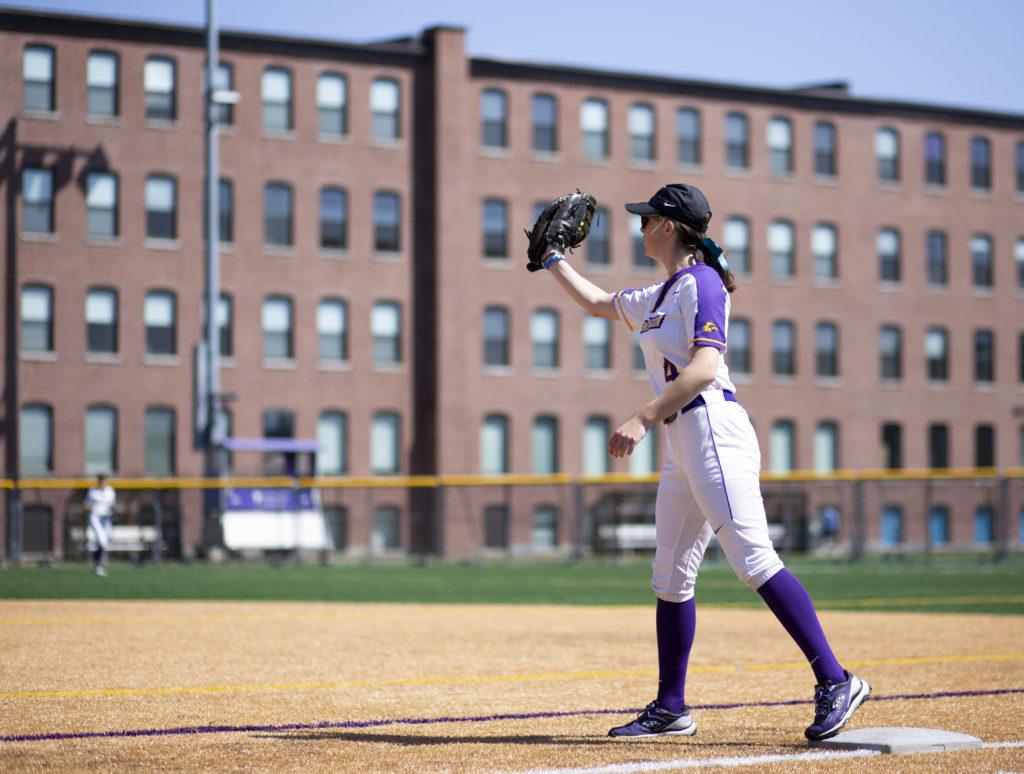 Freshman Lexi Semanchik plays first-base and hit one home run this season. Photo by Alexa Schapiro / Beacon Staff
