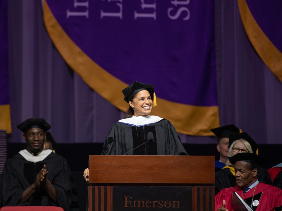 Soledad O'Brien speaking to graduates during 2019's commencement ceremony.