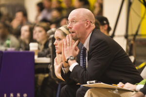 Emerson women's basketball coach Bill Gould during a game in 2016. Photo: Evan Walsh / Beacon Archive