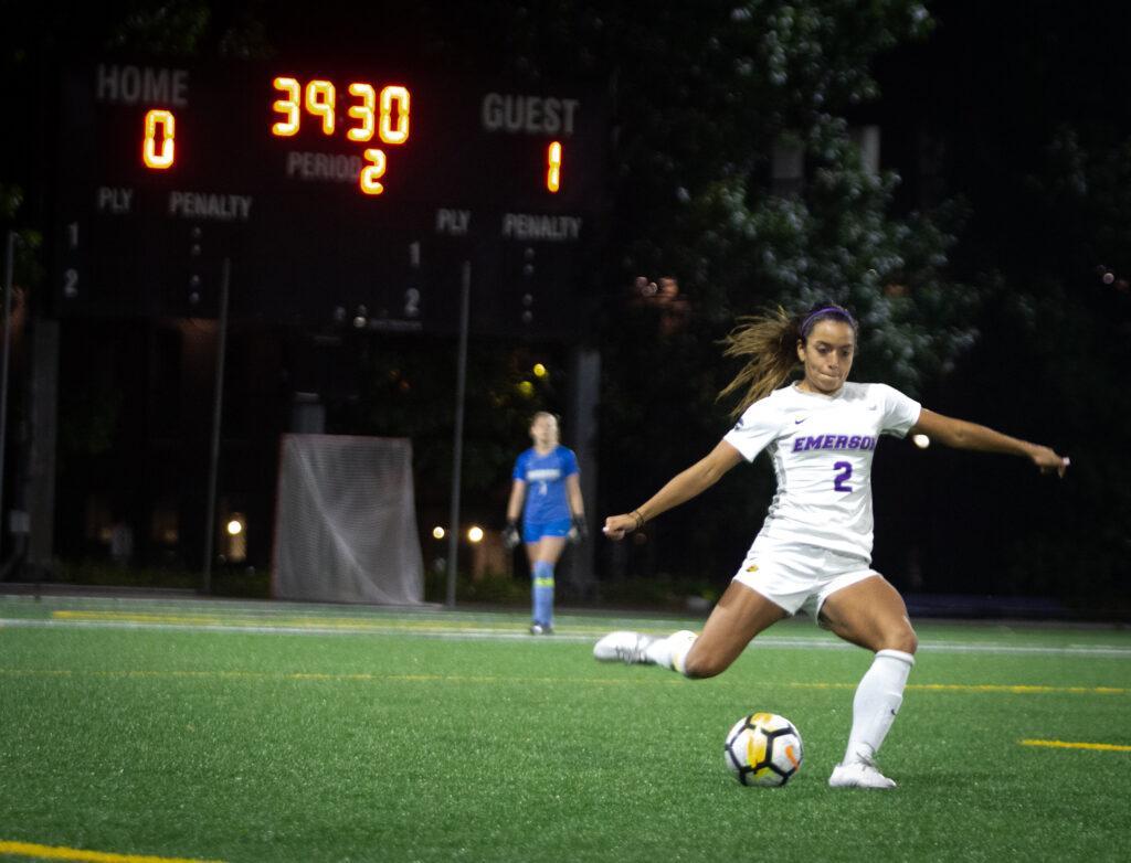 Junior defender Amanda Benavente totaled two shots on goal in the teams loss to Lesley. Rachel Culver / Beacon Staff