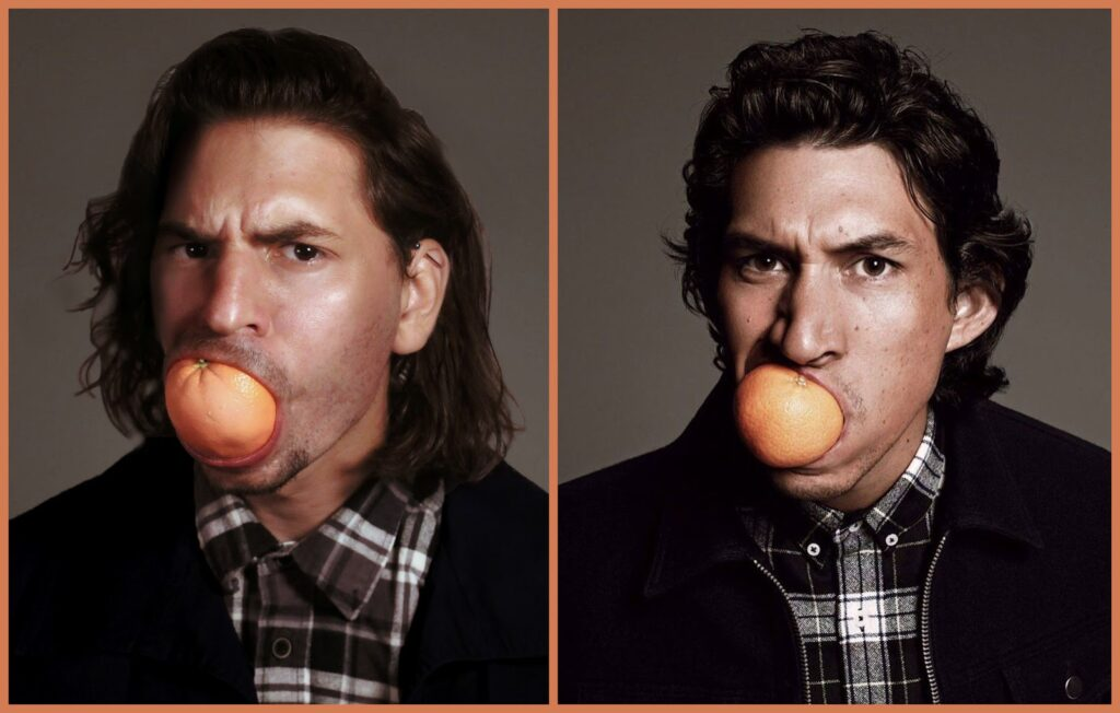 Schifano (left) said he had no idea how Driver (right) managed to fit the entire orange in his mouth. He had to cut his in half to make it fit. Photo courtesy of Ben Schifano.