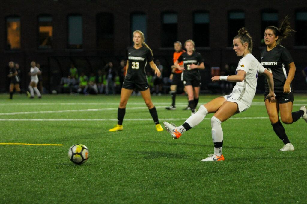 Freshman Cali Bruce scored her first collegiate goal in the Lions' win against Wentworth. Rachel Culver / Beacon Correspondent
