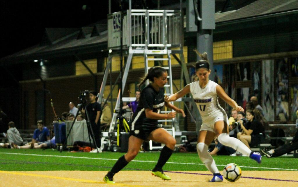 Freshman Marie Bou Aziz (right, No. 17) scored her second and third collegiate goals in the team's win against Wentworth. Rachel Culver / Beacon Staff