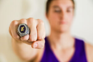 Sophomore Drake Murphy poses with his NEWMAC championship ring. Domenic Conte / Beacon Staff