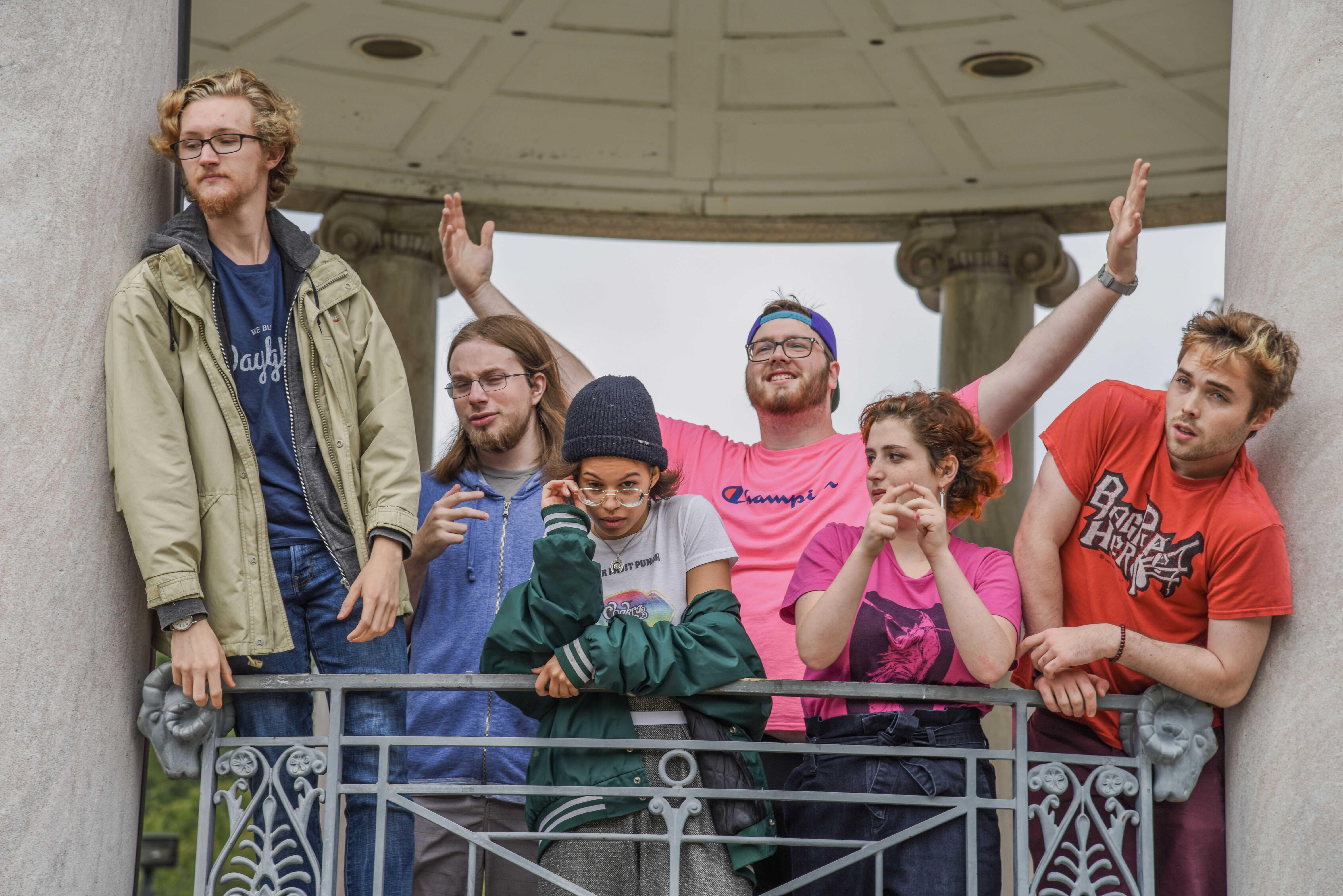 Owen Elphick (left), Dani Jean-Baptiste (front left), Devin Davis-Lorton (front right), and Trevor Kelly (left) rapped verses on the mixtape this past summer. Greyson Acquaviva / Beacon Staff
