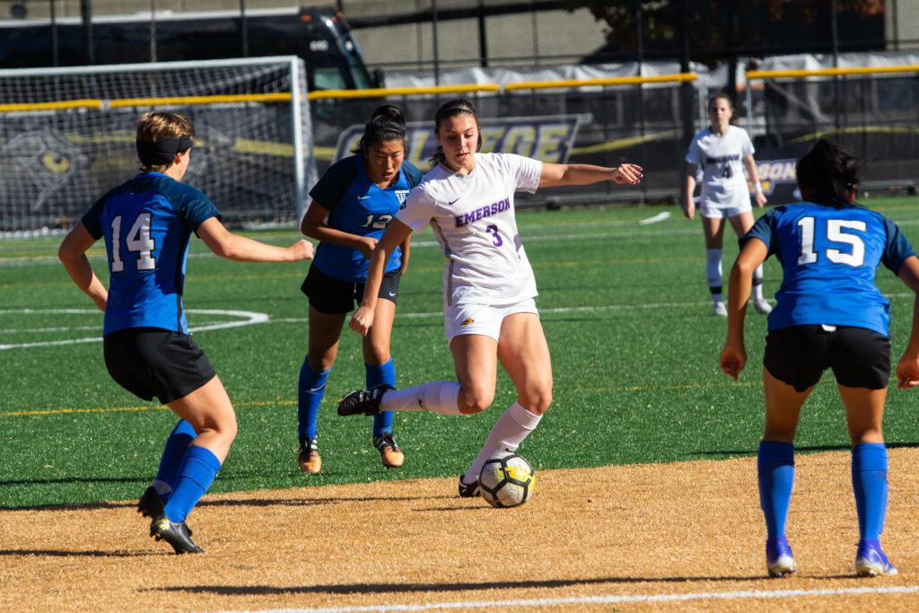 Freshman midfielder Sage Stack (middle) led the team with five shots against Wellesley. Carol Rangel / Beacon Staff