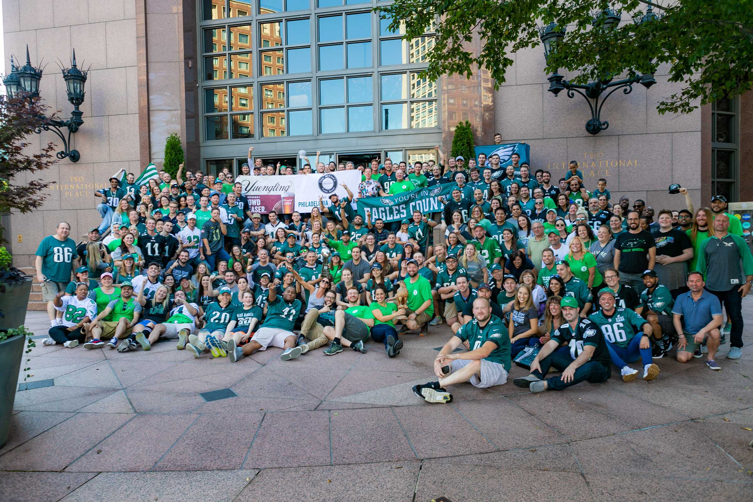 The Philadelphia Eagles Fans of Boston Class Photo from 2018, taken outside of their current home bar, Finn McCool's Public House. Courtesy of Philadelphia Eagles Fans of Boston website.