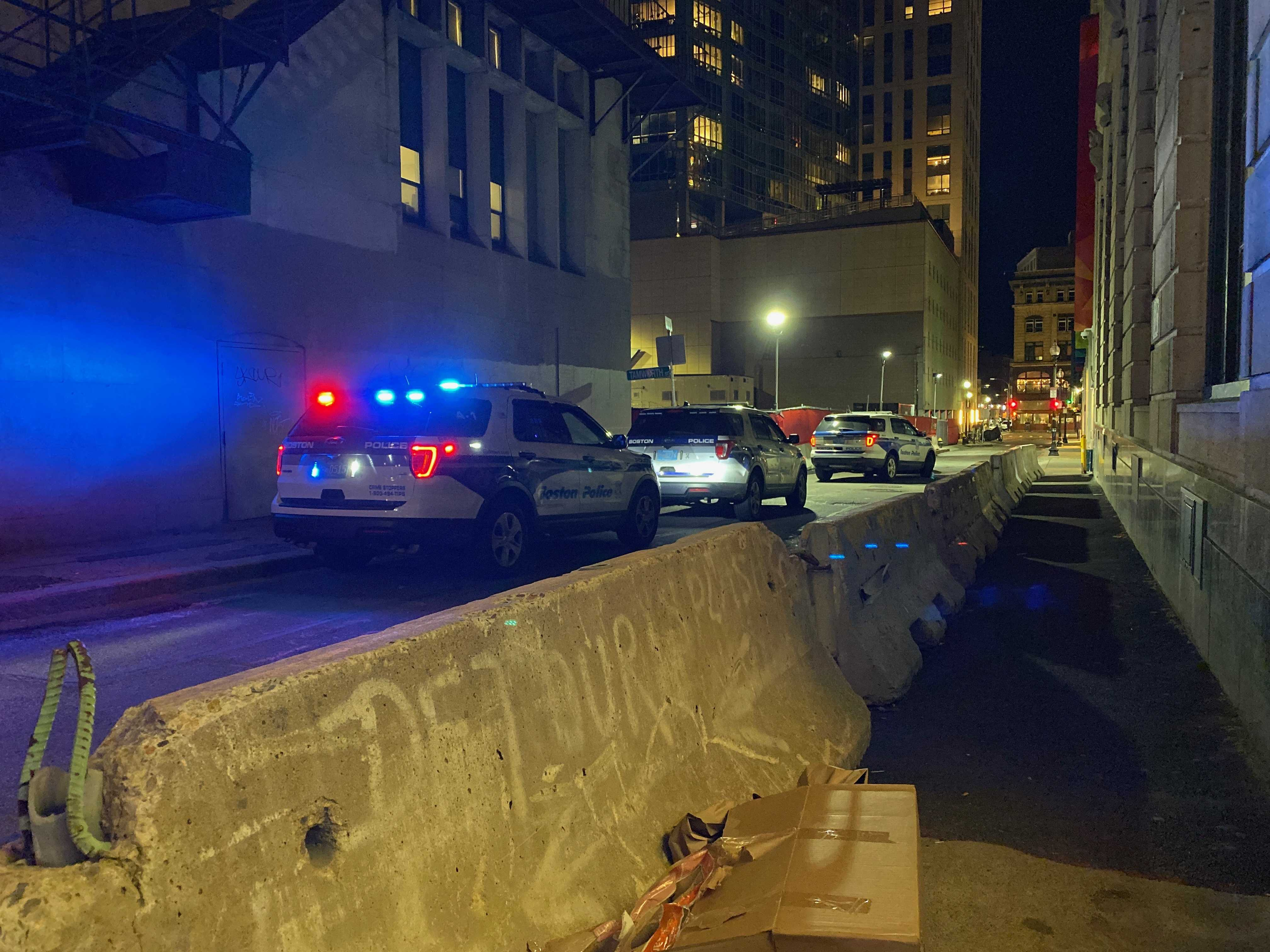 Four Boston police cars at Langrange and Tremont St. at approximately 6 p.m. Sam Doran / Beacon Correspondent