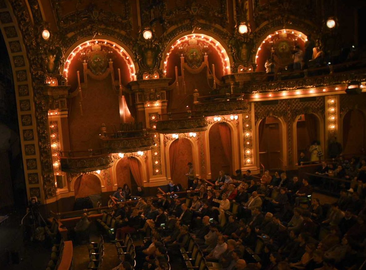 The Brown sisters recorded their podcast's live show in the Cutler Majestic Theatre. Jakob Menendez / Beacon Archives