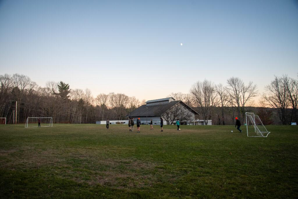 Students play soccer at Marlboro college in early November. Beacon Archive.