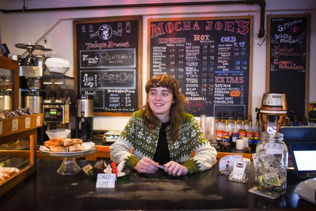 Marlboro College junior Sally Fletcher works at a local coffeeshop in Brattleboro, Vermont / Jakob Menendez