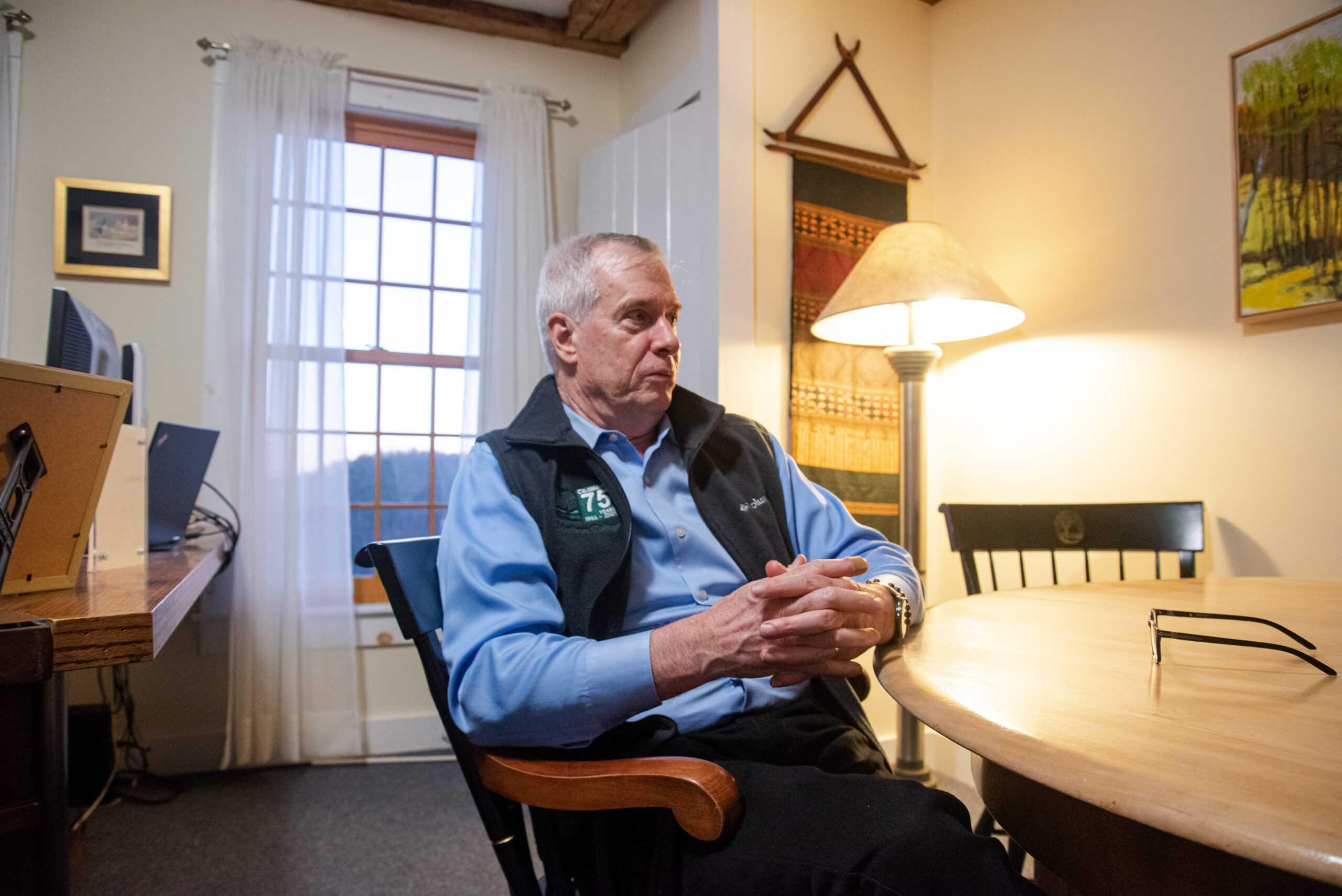 Marlboro College President Kevin Quigley sat down with The Beacon to discuss the Emerson-Marlboro merger. Jakob Menendez / Beacon Staff