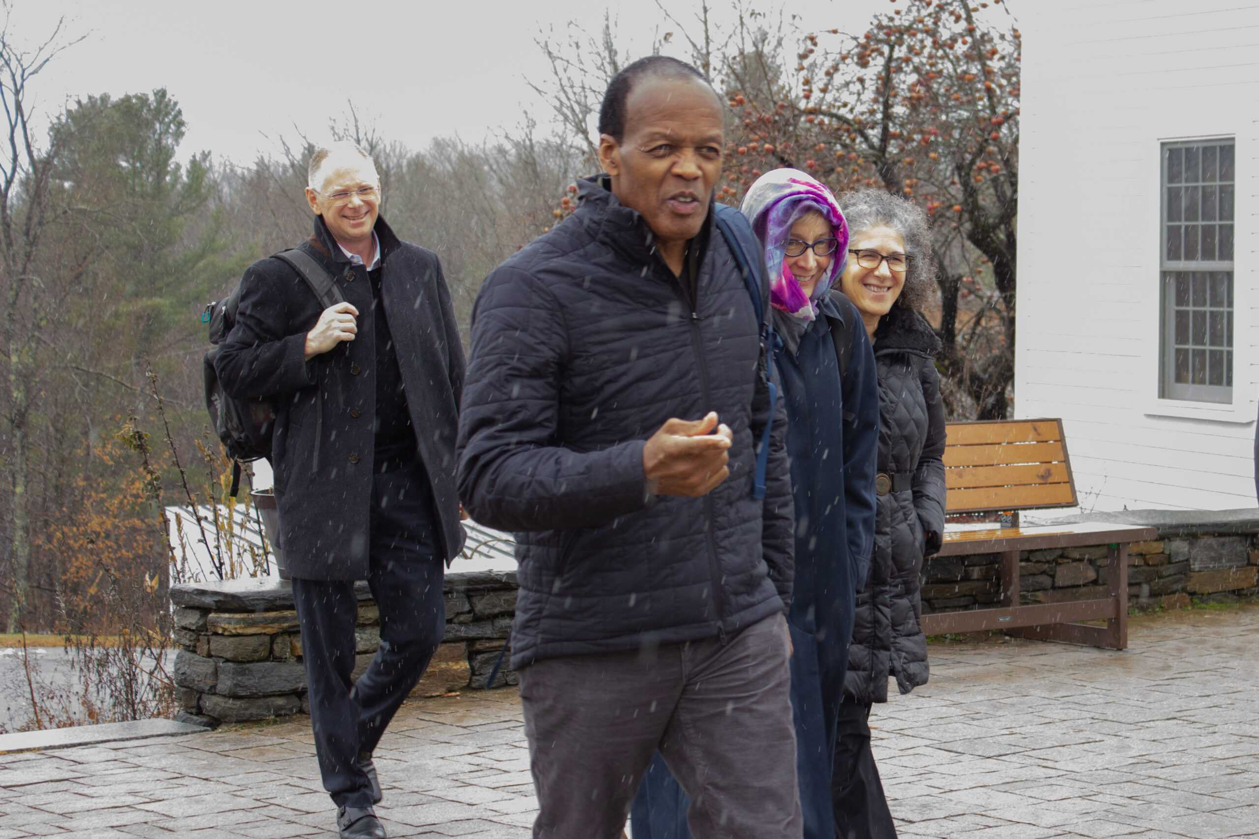President M. Lee Pelton arrived on Marlboro's campus at 11:30 a.m. this morning accompanied by several other high level administration officials. Rachel Lo / Beacon Staff