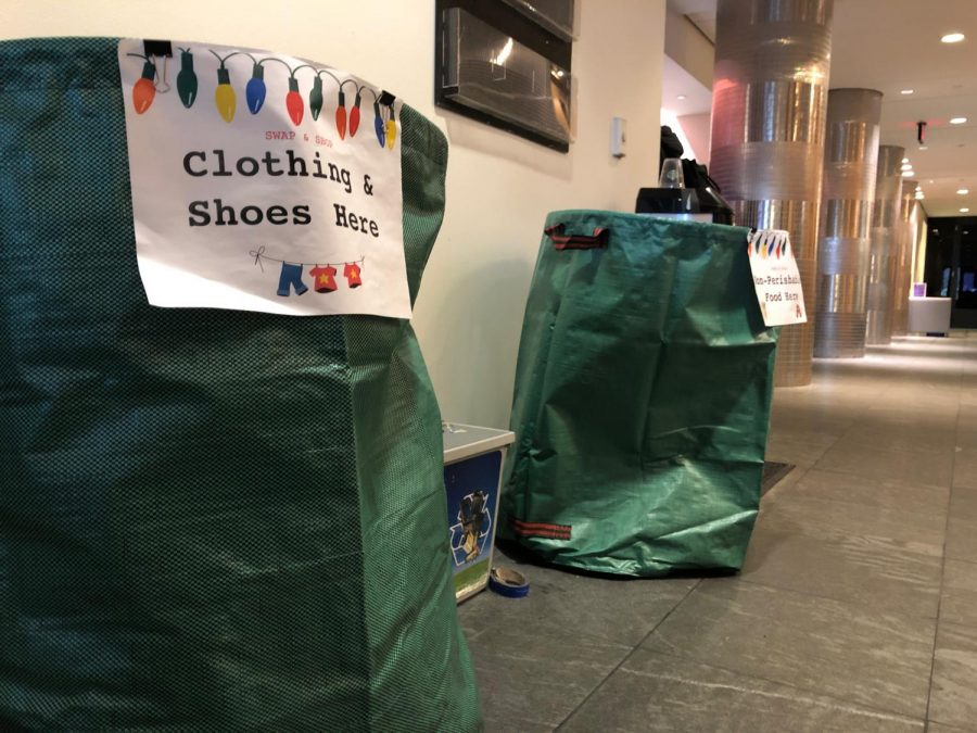Students can donate clothing and nonperishable food to the swap-and-shop bins located around campus. Kyle Bray / Beacon Staff