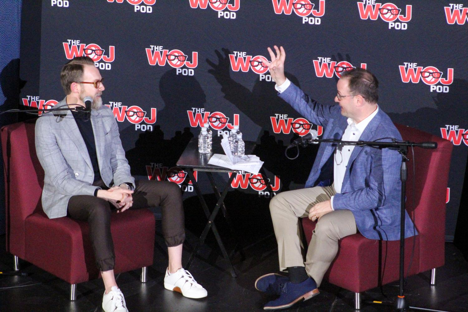 Sam Presti (left) appeared on The Woj Pod with senior NBA insider Adrian Wojnarowski (right).