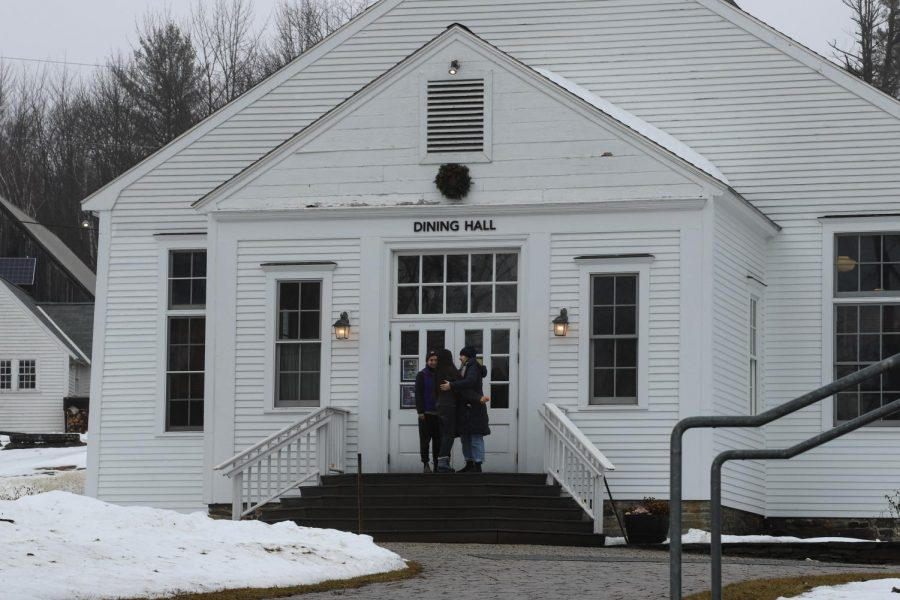 Students gather outside Marlboro College's dining hall after an emergency board of trustees meeting in early December 2019.